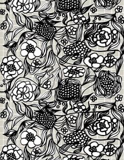 FLORISTI -akryylipinnoitettu puuvillakangas musta