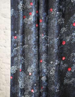 KURJENMARJA -puuvillakangas tummansininen
