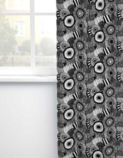 PIENI SIIRTOLAPUUTARHA -puuvillakangas musta