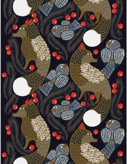 KETUNMARJA -akryylipinnoitettu puuvillakangas tummansininen