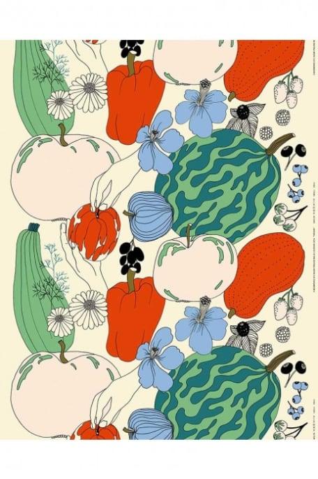 TARHURI -akryylipinnoitettu puuvillapellavakangas kirjava