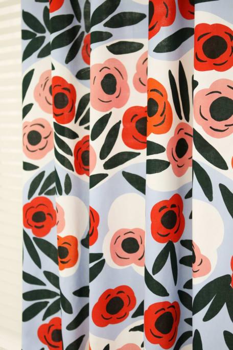 RUUKKU -puuvillakangas vaaleansininen