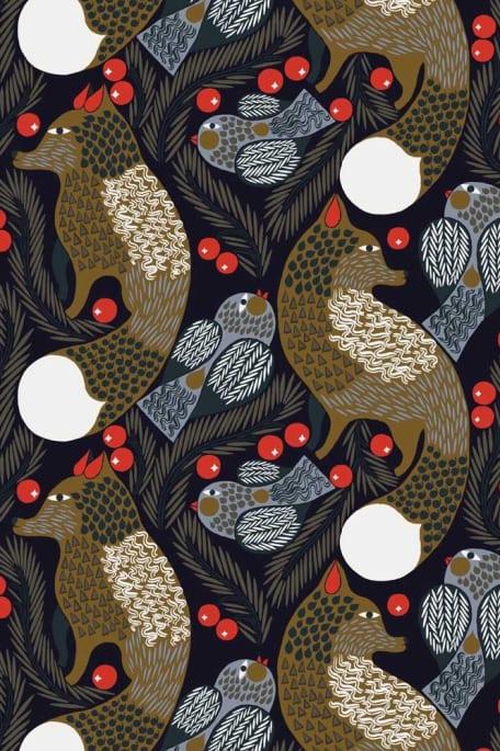KETUNMARJA -puuvillakangas tummansininen